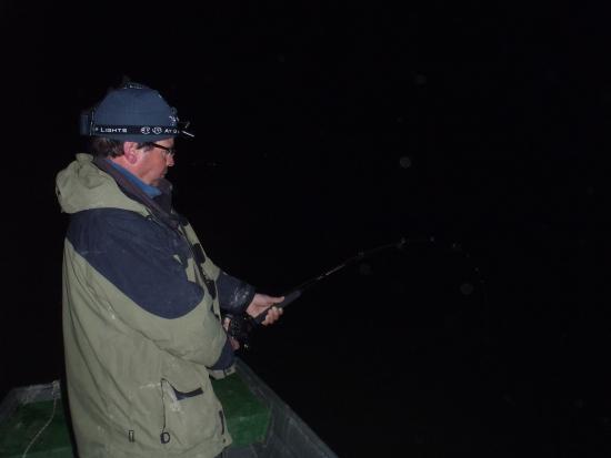 In maart naar Caspe met een schitterende dril 's nachts na een aanbeet op karper onder de dobber